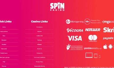 Spin Casino Footer