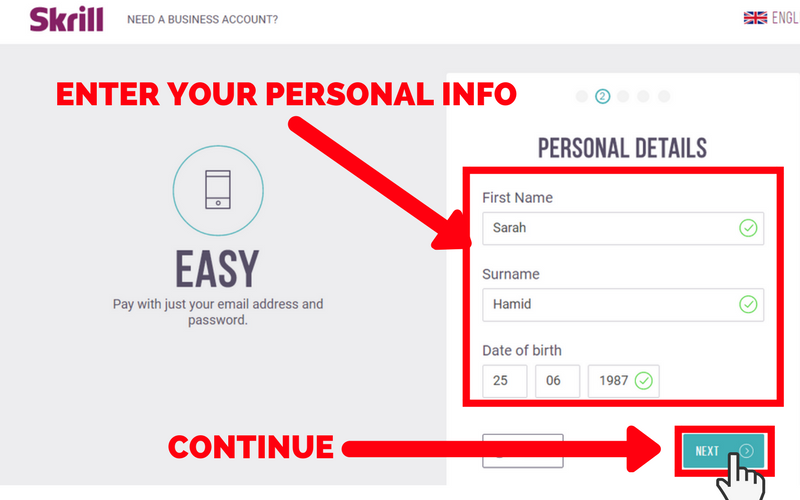 How to Set Up a Skrill Account: Step 3