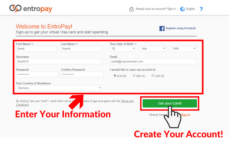 Online Casinos that Accept Entropay: Step 2