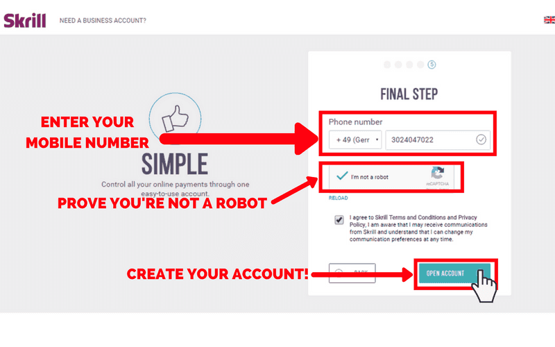 How to Set Up a Skrill Account: Step 6