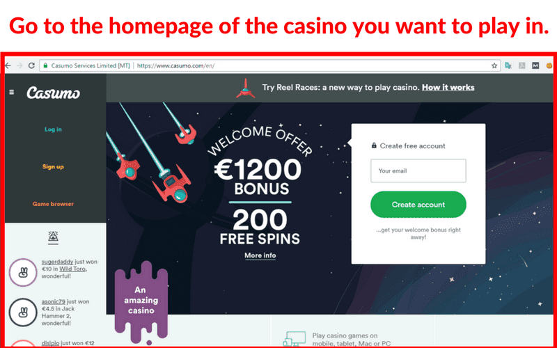 Online Casinos that Accept VISA: Method 2
